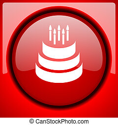 cake red icon plastic glossy button