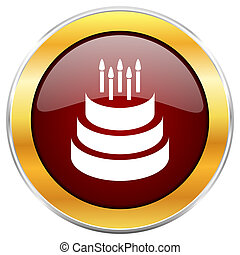 Cake red web icon with golden border isolated on white background. Round glossy button.