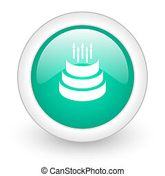 cake round glossy web icon on white background