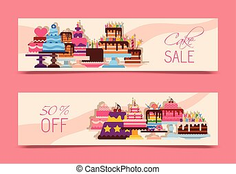 Cake sale banners vector illustration. Chocolate and fruity desserts for sweet shop with fresh and tasty cupcakes, cakes, pudding, biscuits, whipped cream, glaze and sprinkles.