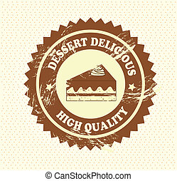 cake seal - cake seal over dotted background vector...