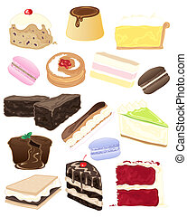 cake selection - an illustration of a selection of delicious...