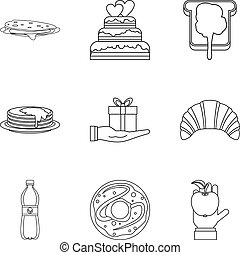 Cake shop icon set, outline style