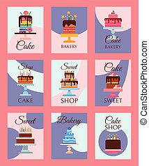 Cake shop set of banners or cards vector illustration. Chocolate and fruity desserts for cake shop with cupcakes, cakes, pudding, biscuits, whipped cream, glaze and sprinkles, candles.