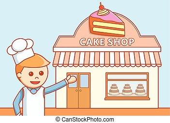 Cake shop store  doodle illustratio