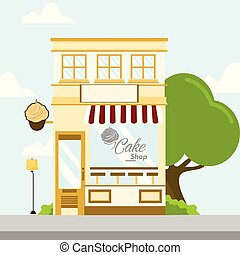 Cake Shop Store Front Building Background Illustration