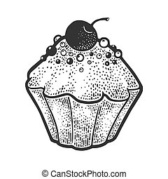 cake sketch engraving vector illustration. T-shirt apparel print design. Scratch board imitation. Black and white hand drawn image.