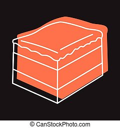 Cake slice icon in doodle style vector illustration for design and web isolated