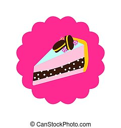 Cake slice with macaroons on top vector cartoon icon.