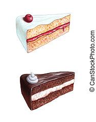 Cake slices - Cherry cake and chocolate cake slices. ...