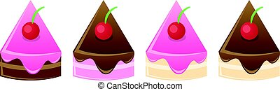 cake slices with cherry