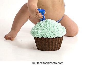 Cake Smash Photo cupcake one year old toddler