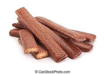 Cake sticks with chocolate glaze