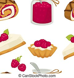 Cake sweets food with sugary ingredients and raspberry...