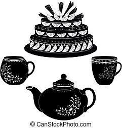 Cake, teapot and cups, contours - Holiday cake, teapot and...