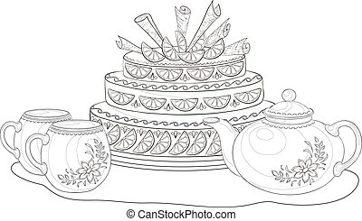 Cake, teapot and cups, contours