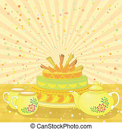 Cake, teapot and cups - Vector, holiday cake, teapot and...
