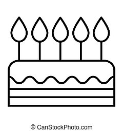 Cake thin line icon. Sweet vector illustration isolated on white. Bakery outline style design, designed for web and app. Eps 10.