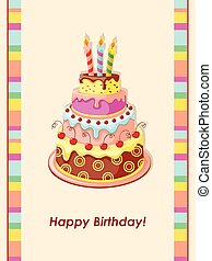 Cake tier - Festive colorful birthday card with cake tier, ...