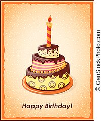Cake tier - Festive colorful card with text Happy Birthday, ...