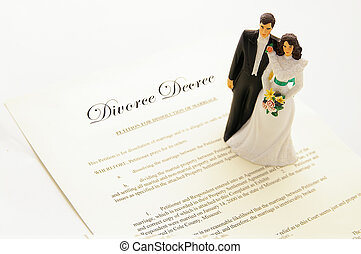 cake-topper couple on a divorce agreement