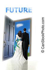 cake-topper, porta, par, plástico, olhar, futuro, casório, saída