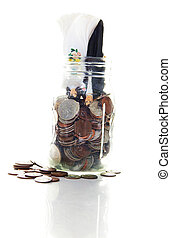 cake-topper wedding couple upside down in a coin jar ( money...