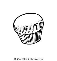 Cake. Vector black hand drawn vintage engraving