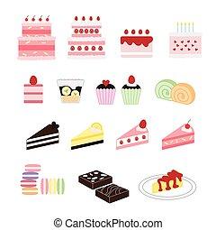 cake vector, dessert set