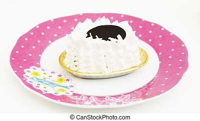 Cake white cream on dish isolated background