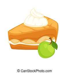 Cake with apple jam and tender whipped cream