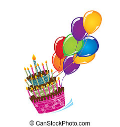 cake with balloons isolated over white background. vector