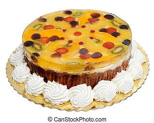 Cake with banana, oranges, kiwi and jelly