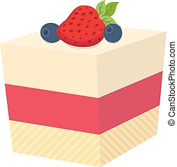 Cake with berries, cupcake with strawberry and blackberry, flat style.