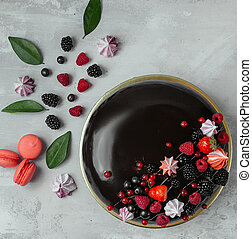 cake with berries on the table