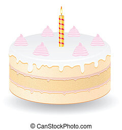 cake with burning candle vector illustration