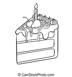 Cake with candle coloring book vector illustration