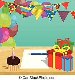 Cake with candle, gift boxes and white papper with pen on a table, balloons on the background.