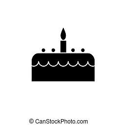 cake with candle icon, vector illustration, black sign on isolated background