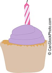 Cake with candle, illustration, vector on white background.
