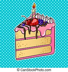 Cake with candle pop art vector illustration