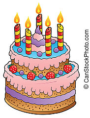 Cake with candles and strawberries - vector illustration.