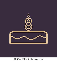 Cake with candles in the form of number 8 icon