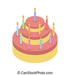 Cake with candles isolated for Holiday. Birthday pie on white background