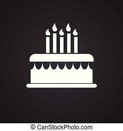 Cake with candles on black background