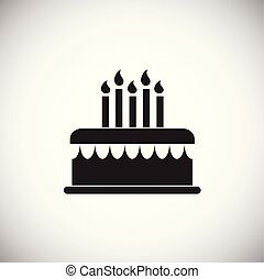 Cake with candles on white background
