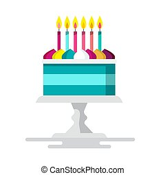 Cake with Candles. Vector Flat Design Dessert Isolated on White Background.
