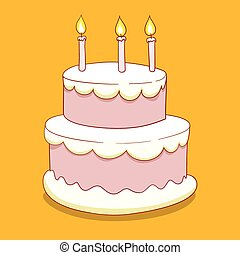 Cake with candles vector illustration