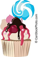 Cake with candy, illustration, vector on white background.