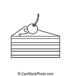Cake with cherries icon, outline style